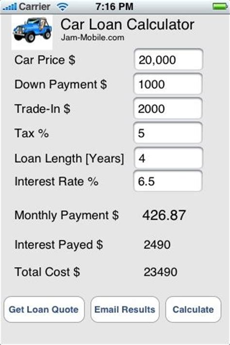 mobile car loan calculator loan payoff pinterest