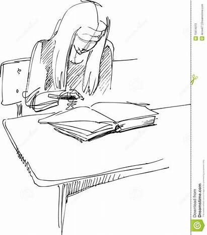 Desk Sitting Drawing Desks Som Drawings Maedchen