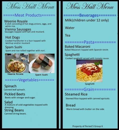 cuisine menu list sle menu period 5 6 c cuisine calculations