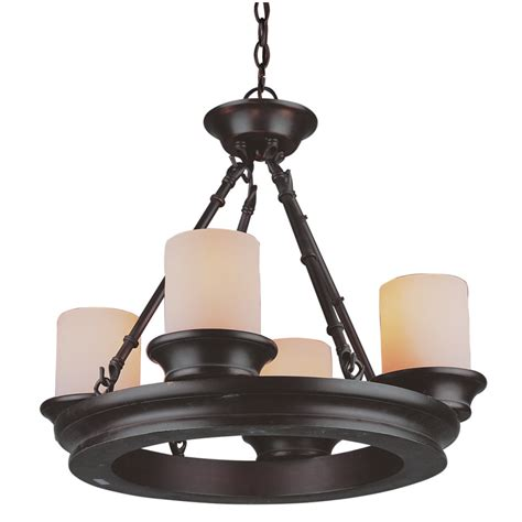 shop allen roth 4 light rubbed bronze chandelier at