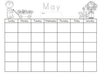 kindergarten calendarmath journal sheets includes blank  prefilled