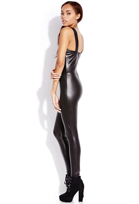 leather jumpsuits forever 21 be seen faux leather jumpsuit in black lyst