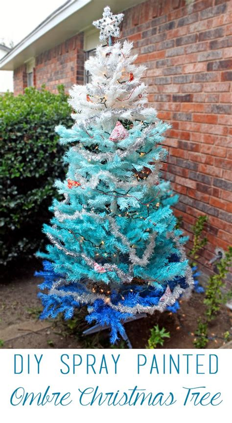 projects diy ombre tree - Sprayed Painted Christmas Trees