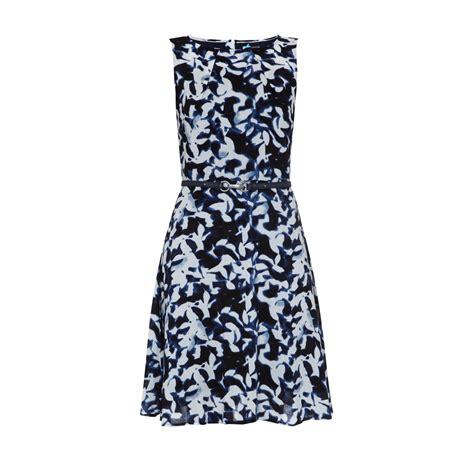 comma kleid mit abnehmbarem guertel damen kleid marineblau