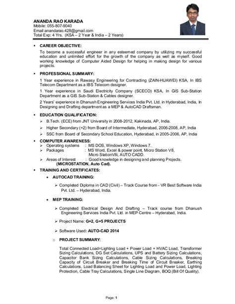 Cv For Application Exle by Anand Ibs Imp Eng Cv