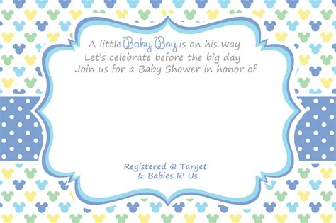 Printable Baby Boy Shower Invitations Template Printable Free Printable Mickey Mouse Baby Shower Invitation