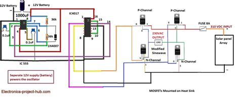 transformerless modified sine wave inverter circuit diy electronics projects