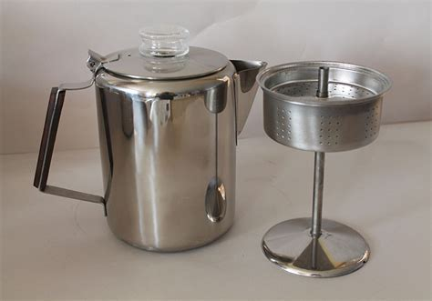 Old fashioned stove top coffee percolator. Stainless 9 or
