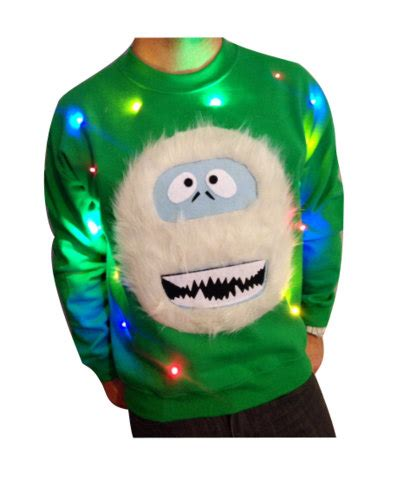 light up christmas sweater abominable snowman christmas