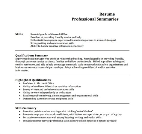 Exles Of A Professional Summary sle professional summary template 8 free documents