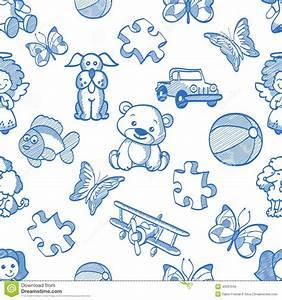 Seamless Blue Kids Pattern Stock Illustration - Image ...
