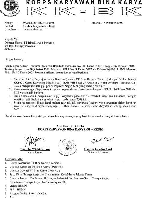 Usulan Penyesuaian Gaji | Serikat Pekerja KKBK PT Bina Karya (Persero)