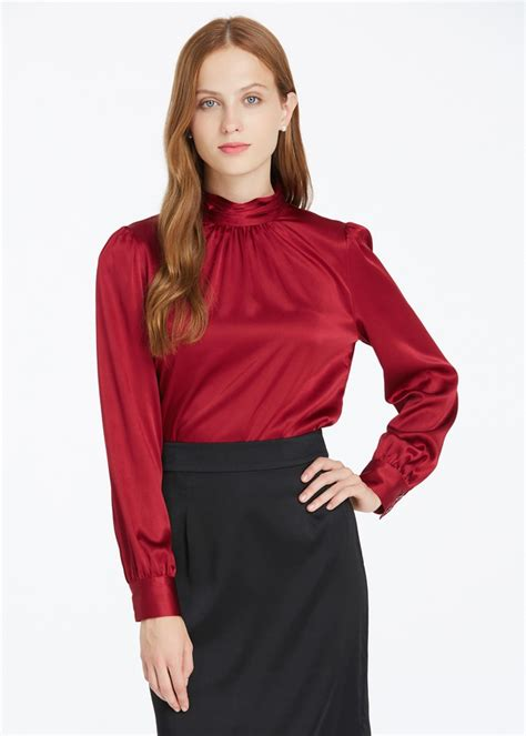 hot blouse style 19mm retro style silk blouse hot sale from lilysilk