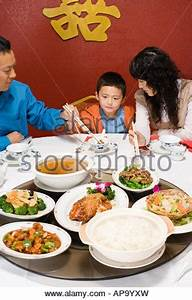 Family New Year dinner, table set with traditional ...