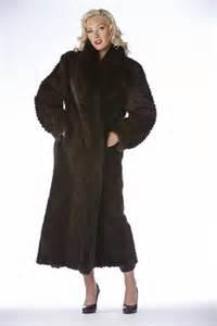 Mahogany Full Length Chevron Cut Mink Coat with Fox Tux