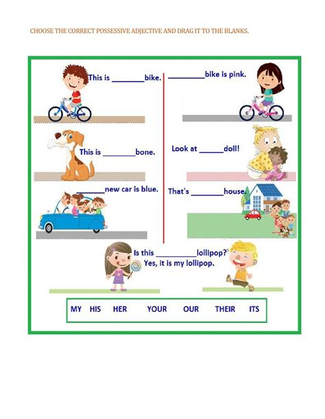 possessive adjectives worksheet and pdf