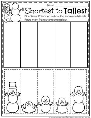 snowman activities for preschool planning playtime 111 | Sort by Size Winter Worksheet for Preschool