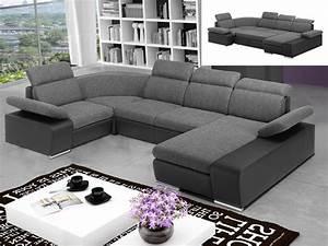 Canapé En U Tissu : canap d 39 angle convertible en tissu et simili cyrano ~ Teatrodelosmanantiales.com Idées de Décoration