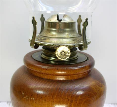 turned wood wooden base oil kerosene l glass chimney