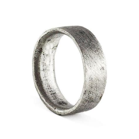 mens wedding band brushed silver personalized man ring jewelry