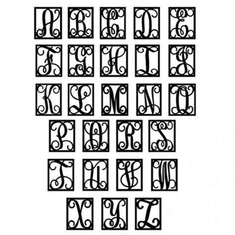 single initial metal monogram  square frame