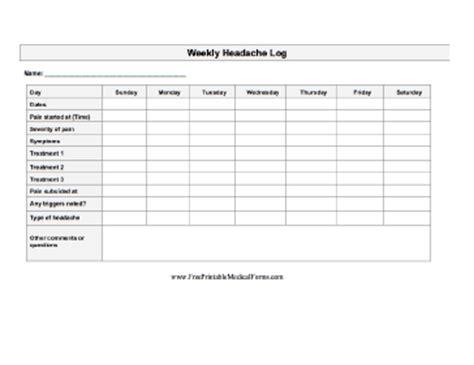 printable weekly headache log