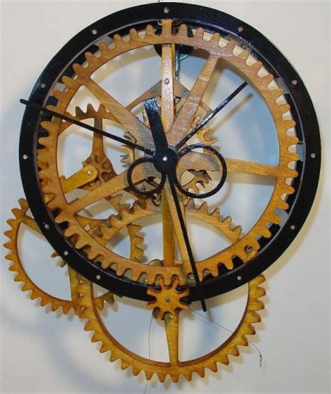 wood gear clock plans  build  wooden gear clocks