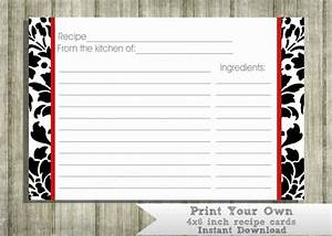 items similar to printable recipe cards black white and With how to print on 4x6 cards