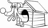 Dog Doghouse Coloring Cartoon Clip Coloriage Sort Maison Sa Teckel Illustrations Hondenhok Kleurplaat Pagina Comic Happy Searches Related sketch template
