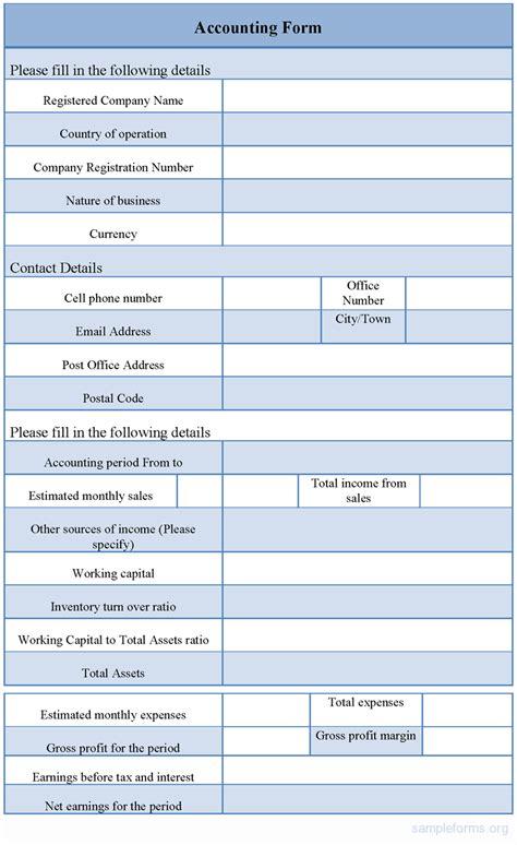 sample accounting form sample accounting form