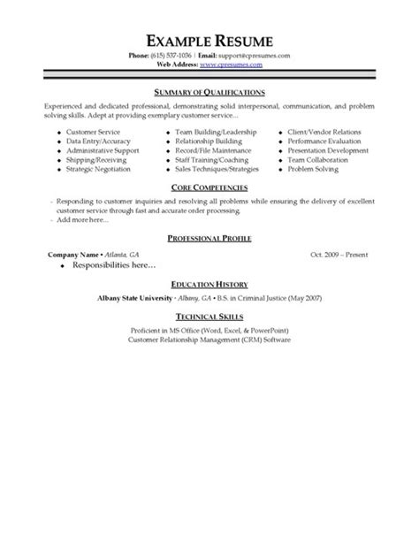 exles of resumes for customer service exles of resumes
