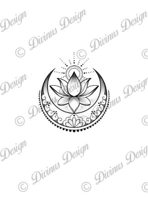 Lotus with Sun and Moon tattoo design and Stencil