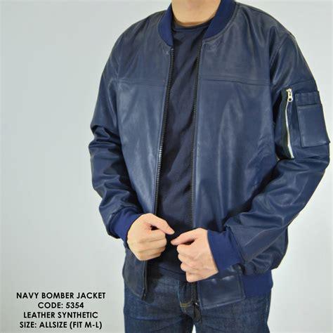 jual beli jaket cowok jaket kulit bomber motor navy