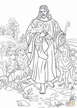 Shepherd Jesus Coloring Pages Printable Drawing Crafts Dot sketch template