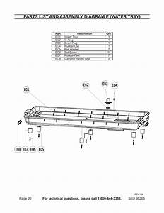 Parts List And Assembly Diagram E  Water Tray