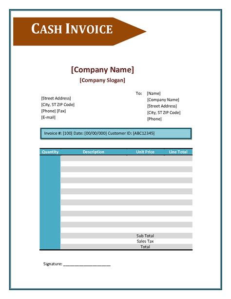 cash invoice template apcc