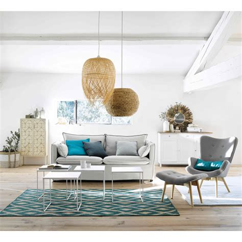fauteuil scandinave en tissu gris clair iceberg maisons