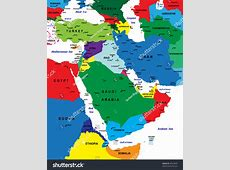 Middleeast Political Map Vector Stock Vector 48323695