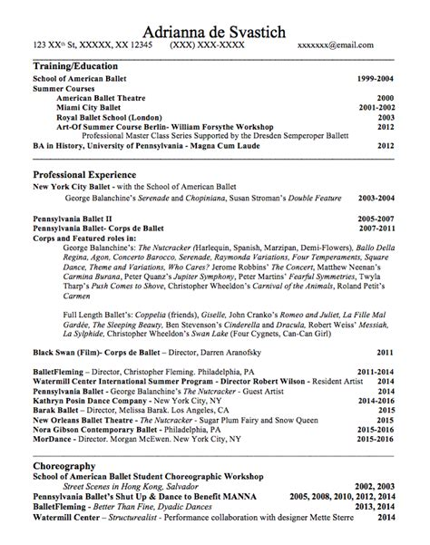 Dancer Resume by Resume How To Pointe