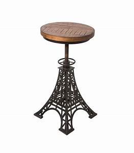 Tabouret de Bar Réglable en Bois et Métal Noir Eiffel Wadiga