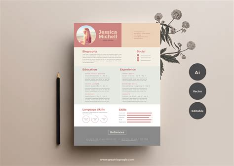 simple elegant resume templategraphic google tasty graphic designs collection