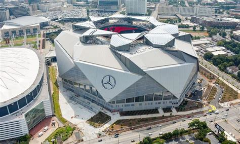 The striking, architecturally wowing stadium resembles a camera's aperture and is the first professional sports stadium to achieve leadership in energy and environmental design (leed) platinum status (a green building certification) in the us. Mercedes spreads its wings at Falcons' new home
