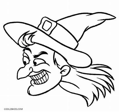 Witch Coloring Halloween Pages Hat Face Printable