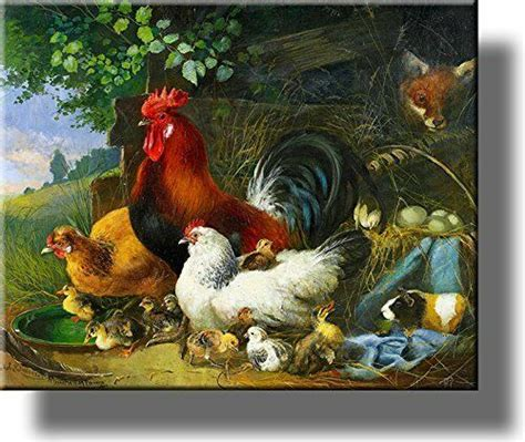village rooster and chickens picture on stretched canvas