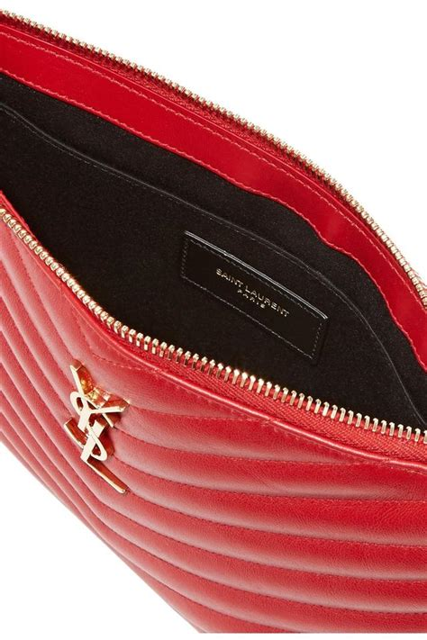 saint laurent ysl monogram quilted pouch red leather wristlet tradesy