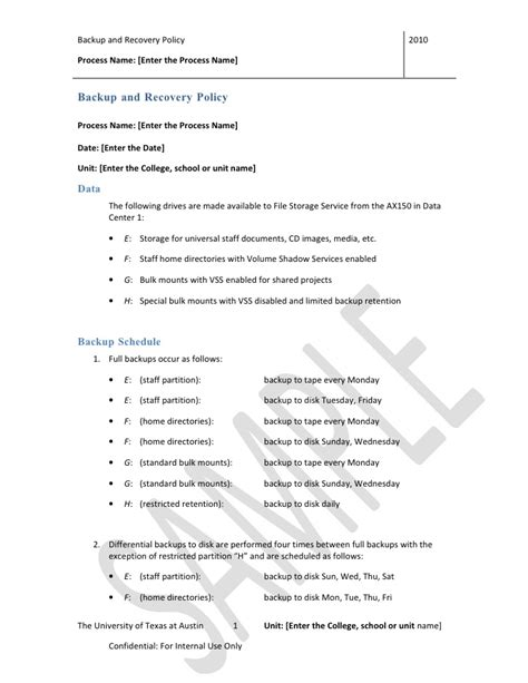 backup  recovery policy template