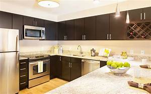 kitchen room design espresso cherry paint wood l shaped With what kind of paint to use on kitchen cabinets for 26 2 sticker