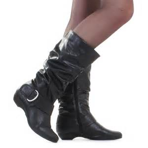 womens size 12 slouch boots womens black slouch casual leather style mid calf flat boots size 3 8 ebay