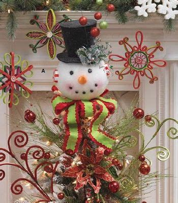 raz snowman tree topper  lighted top hat holiday  ice
