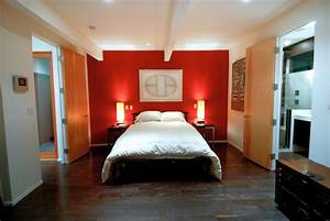 modern mens bedroom with red accent wall With interior design main wall